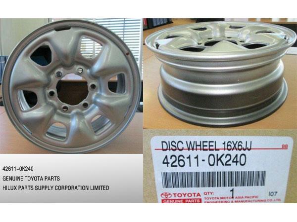 42611-0K240,Genuine Toyota Disc Wheel 16x6JJ